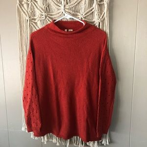 Anthropologie moth orange rust knit sweater size M